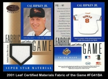 2001 Leaf Certified Materials Fabric of the Game #FG41BA