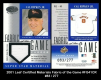 2001 Leaf Certified Materials Fabric of the Game #FG41CR