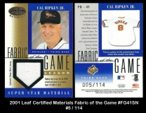 2001 Leaf Certified Materials Fabric of the Game #FG41SN