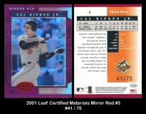 2001 Leaf Certified Materials Mirror Red #2
