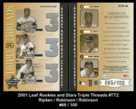 2001 Leaf Rookies and Stars Triple Threads #TT2