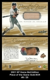 2001 SP Game Bat Edition Piece of the Game Gold #CR