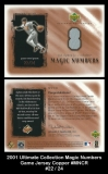 2001 Ultimate Collection Magic Numbers Game Jersey Copper #MNCR