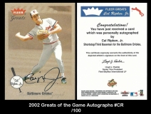2002 Greats of the Game Autographs #CR