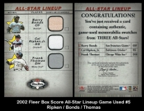 2002 Fleer Box Score All-Star Lineup Game Used #5
