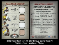 2002 Fleer Box Score All-Star Lineup Game Used #6