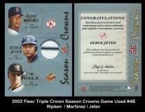 2002 Fleer Triple Crown Season Crowns Game Used #4B