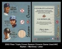 2002 Fleer Triple Crown Season Crowns Game Used #4C