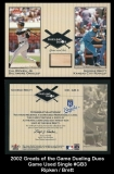 2002 Greats of the Game Dueling Duos Game Used Single #GB3