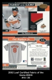 2002 Leaf Certified Fabric of the Game #35IN