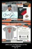 2002 Leaf Certified Fabric of the Game #35INA