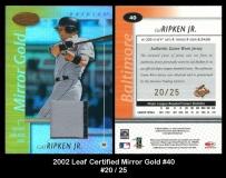 2002 Leaf Certified Mirror Gold #40
