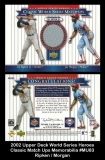 2002 Upper Deck World Series Heroes Classic Match Ups Memorabilia #MU83