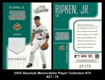 2003 Absolute Memorabilia Player Collection #74