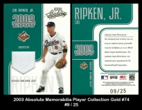 2003 Absolute Memorabilia Player Collection Gold #74