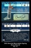 2003 Absolute Memorabilia Signing Bonus Blue #2