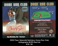 2003 Fleer Splendid Splinters Home Run Club Autographs #CR3 Red Ink