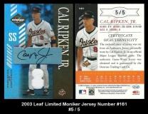 2003 Leaf Limited Moniker Jersey Number #161
