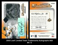 2003 Leaf Limited Team Trademarks Autographs #28