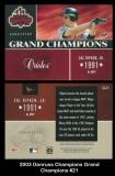 2003 Donruss Champions Grand Champions #21