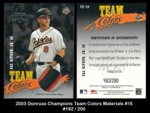 2003 Donruss Champions Team Colors Materials #15