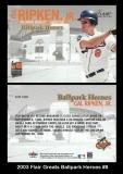 2003 Flair Greats Ballpark Heroes #8