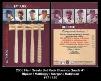 2003 Flair Greats Bat Rack Classics Quad #1