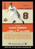 2003 Flair Greats Classic Numbers #8