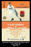 2003 Flair Greats Classic Numbers Game Used Patch #8
