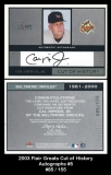 2003 Flair Greats Cut of History Autographs #5