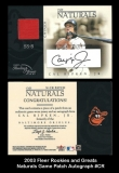 2003 Fleer Rookies and Greats Naturals Game Patch Autograph #CR