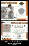 2003 Leaf Certified Materials Fabric of the Game #37BA