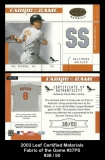 2003 Leaf Certified Materials Fabric of the Game #37PS