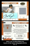 2003 Leaf Certified Materials Fabric of the Game Autographs #37IN