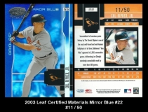 2003 Leaf Certified Materials Mirror Blue #22