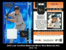 2003 Leaf Certified Materials Mirror Blue Materials #22
