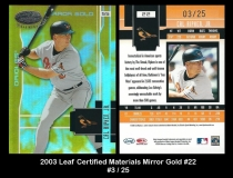 2003 Leaf Certified Materials Mirror Gold #22
