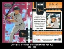 2003 Leaf Certified Materials Mirror Red #22
