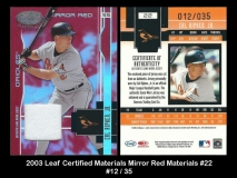 2003 Leaf Certified Materials Mirror Red Materials #22