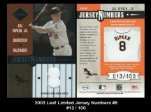 2003 Leaf Limited Jersey Numbers #6