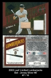 2003 Leaf Limited Lumberjacks Bat Jersey Silver #8