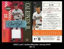 2003 Leaf Limited Moniker Jersey #161