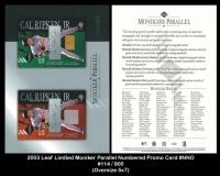2003 Leaf Limited Moniker Parallel Numbered Promo Card #NNO