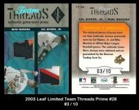 2003 Leaf Limited Team Threads Prime #28