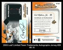 2003 Leaf Limited Team Trademarks Autographs Jersey #28