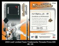 2003 Leaf Limited Team Trademarks Threads Prime #28