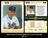 2003 Playoff Portraits Materials Combo Gold #62