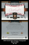 2003 Sweet Spot Classics Autographs Red Ink #CR