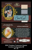 2003 Timeless Treasures Classic Combos Autographs #9