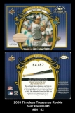 2003 Timeless Treasures Rookie Year Parallel #1